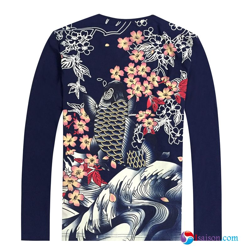 Homme Printemps Impression Grande Taille Col Rond Longues Style Chinois Carpe Seagreen T-shirts